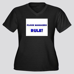 Floor Managers Rule! Women's Plus Size V-Neck Dark