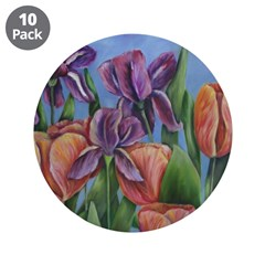 "Mainly Irises 3.5"" Button (10 pack)"