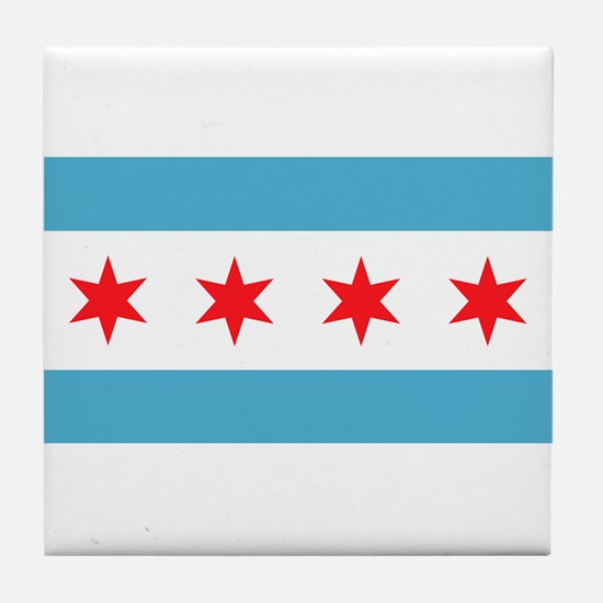 Funny Chicago flag Tile Coaster
