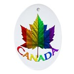 Gay Pride Canada Ornament Rainbow Maple Leaf