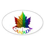 Gay Pride Canada Oval Sticker (10 pk)