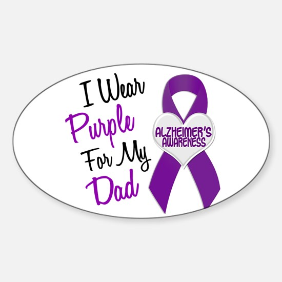 I Wear Purple For My Dad 18 (AD) Oval Decal