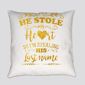 Funny Bride He Stole My Heart Gold Everyday Pillow