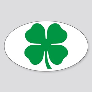 Four Leaf Clover Oval Sticker