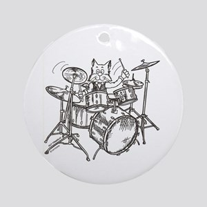 Catoons drums cat Ornament (Round)