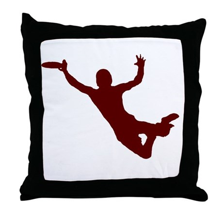 RED DISC CATCH Throw Pillow