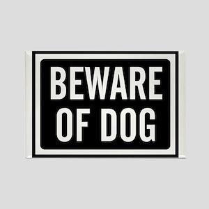 Beware Dog Rectangle Magnet