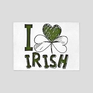 I Love Irish St Patrick's Day Green 5'x7'Area Rug