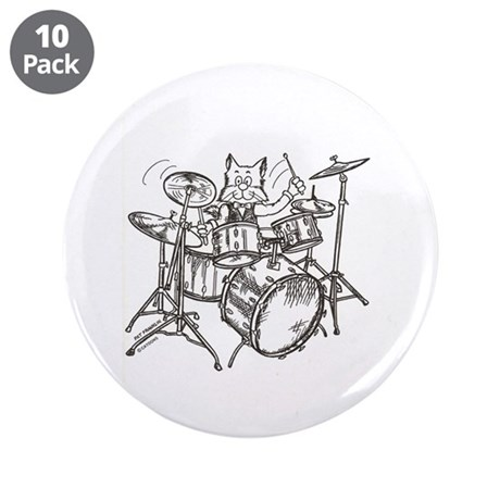 "Catoons drums cat 3.5"" Button (10 pack)"