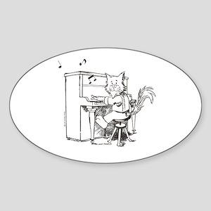 Catoons piano cat Oval Sticker