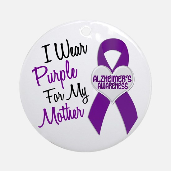 I Wear Purple For My Mother 18 (AD) Ornament (Roun
