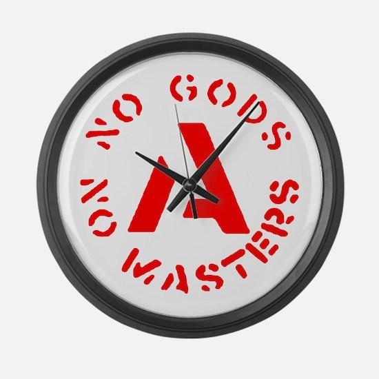 No Gods No Masters Large Wall Clock