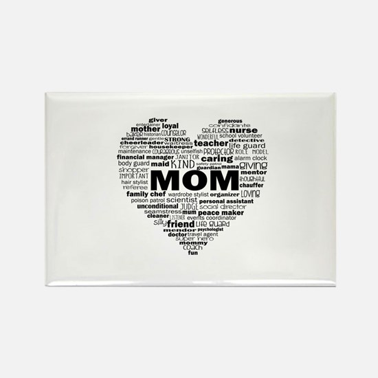 Heart of Kind Words For Mom - black Magnets