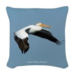 Great White Pelican Sky Woven Throw Pillow