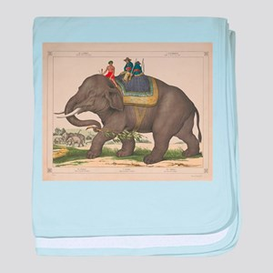 Vintage Painting of Men Riding an Ele baby blanket