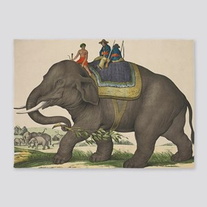 Vintage Painting of Men Riding an E 5'x7'Area Rug
