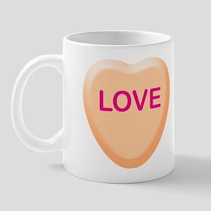 LOVE Orange Candy Heart Mug