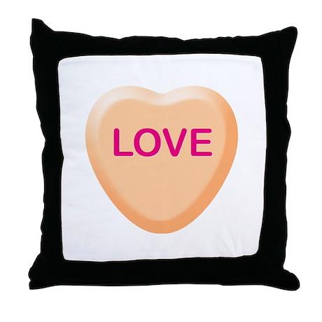 LOVE Orange Candy Heart Throw Pillow