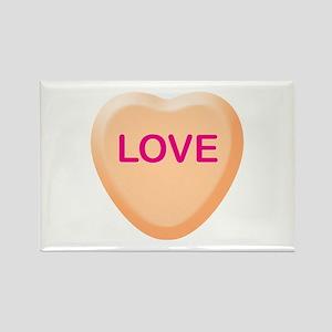 LOVE Orange Candy Heart Rectangle Magnet