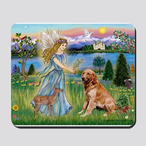 Garden Angel / Golden Sticker Mousepad