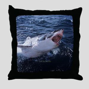 Attacking Shark Throw Pillow