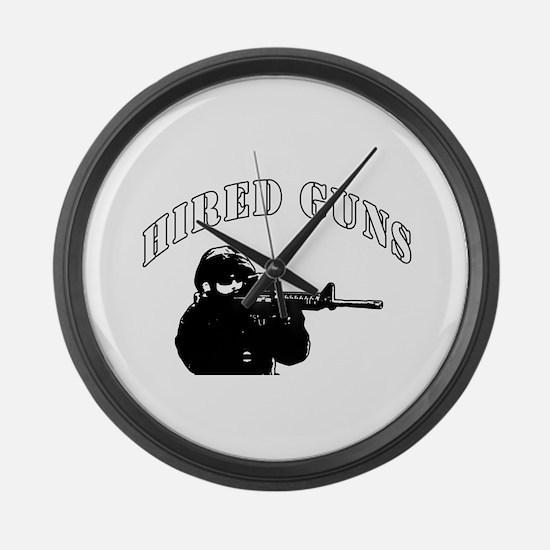 Hired Guns logo Large Wall Clock