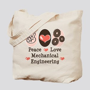 Peace Love Mechanical Engineering Tote Bag