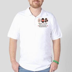 Peace Love Mechanical Engineering Golf Shirt