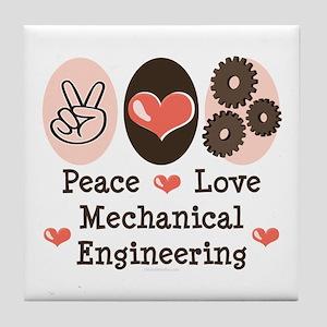 Peace Love Mechanical Engineering Tile Coaster