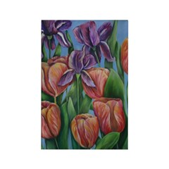 Pink tulips and purple irises Rectangle Magnet (10