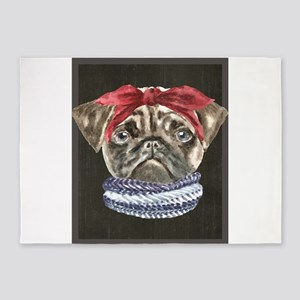 Pug Headband Scarf Dogs In Clothes 5'x7'Area Rug