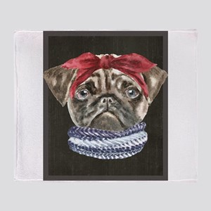 Pug Headband Scarf Dogs In Clothes Throw Blanket