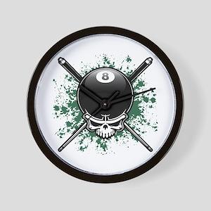 Pool Pirate II splat Wall Clock