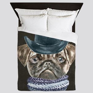 Pug Cowboy Hat Scarf Dogs In Clothes Queen Duvet