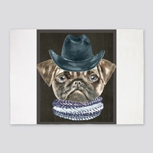 Pug Cowboy Hat Scarf Dogs In Clothe 5'x7'Area Rug