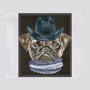 Pug Cowboy Hat Scarf Dogs In Clothes Throw Blanket