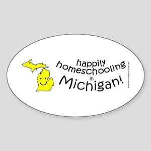 Happy in MI Oval Sticker