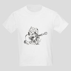 Catoons accoustic guitar cat Kids Light T-Shirt