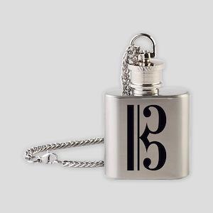 AltoClefSimpleBLKTRANS Flask Necklace