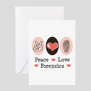Peace Love Forensics Greeting Card