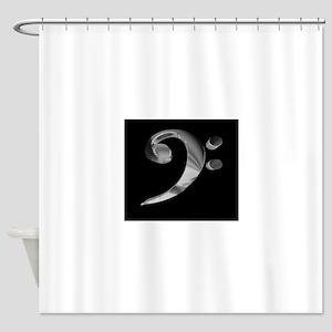 GrandRoyalBassClefDeepPlat Shower Curtain