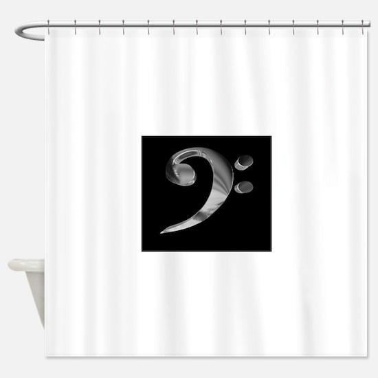 GrandRoyalBassClefDeepPlat.jpg Shower Curtain