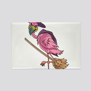 Halloween Witch Flamingo Magnets