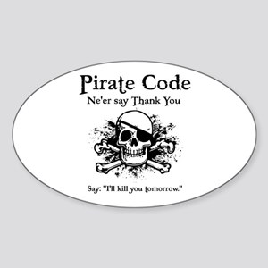 Pirate Thank You Oval Sticker