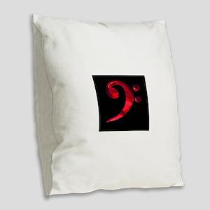 GrandRoyalBassClefDeepRed Burlap Throw Pillow