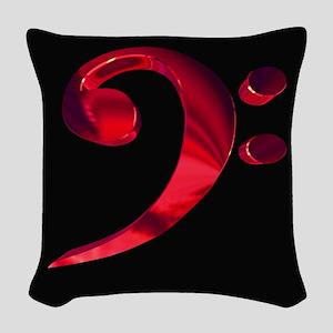 GrandRoyalBassClefDeepRed Woven Throw Pillow
