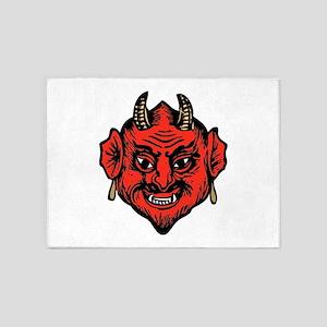 Horned Red Satan Devil Face 5'x7'area Rug