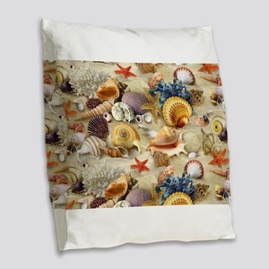 Sea Shells Burlap Throw Pillow