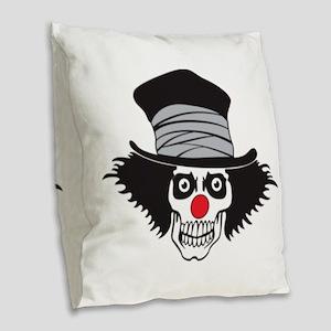 Evil Clown Skull In Top Hat Burlap Throw Pillow
