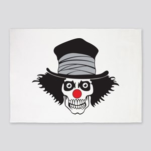 Evil Clown Skull In Top Hat 5'x7'Area Rug
